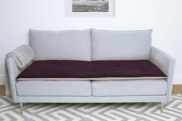 Sofa Topper In Plum Velvet