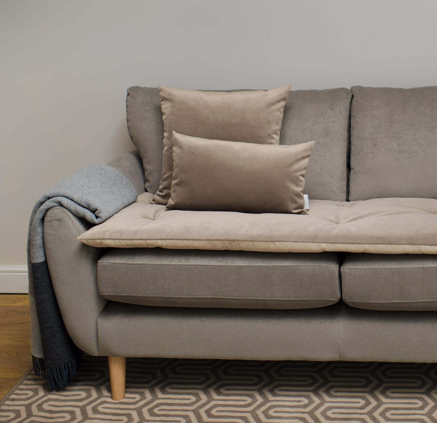 Sofa Topper In Taupe Velvet The Lounging Hound