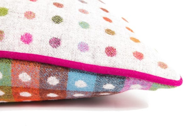 Luxury Pure Wool Cushion in Grey Multispot