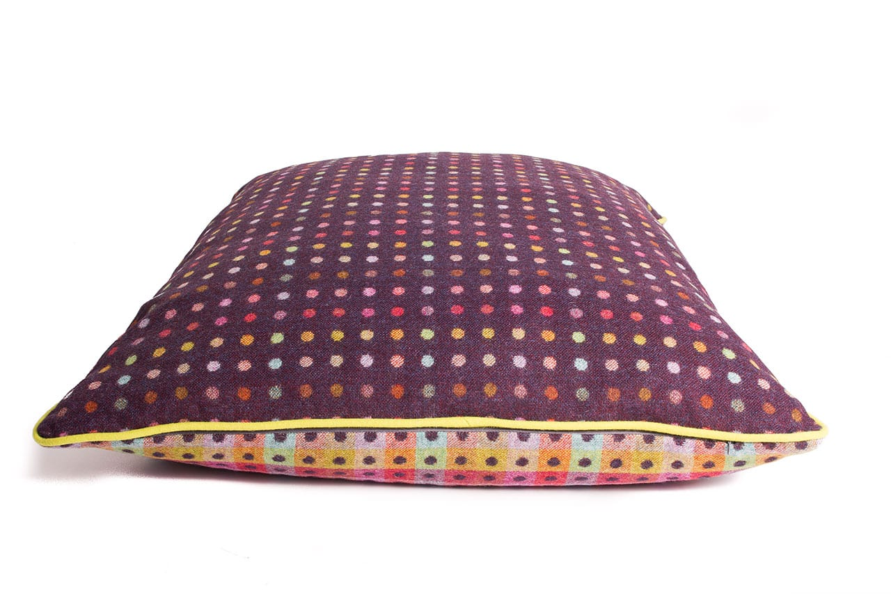 luxury pure wool cushion in mulberry multispot