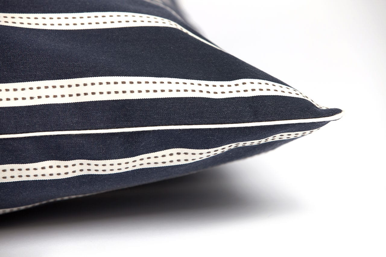 Signature Cotton Striped Bed In Navy The Lounging Hound
