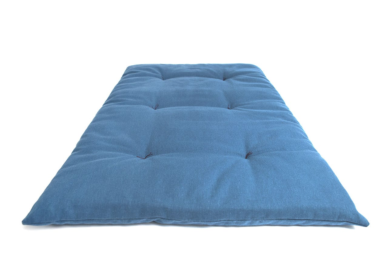 Organic Dog Bed Roll In Blue The Lounging Hound
