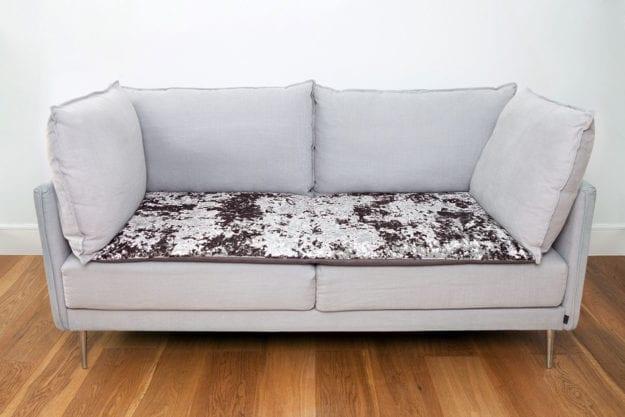 Crushed Velvet Sofa Topper in Flint