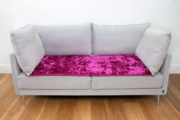 Crushed Velvet Sofa Topper in Magenta