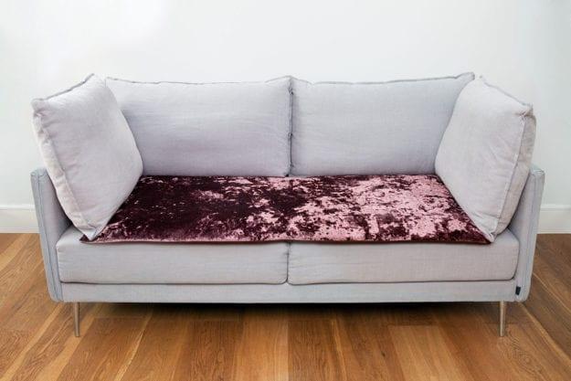 Crushed Velvet Sofa Topper in Mulberry