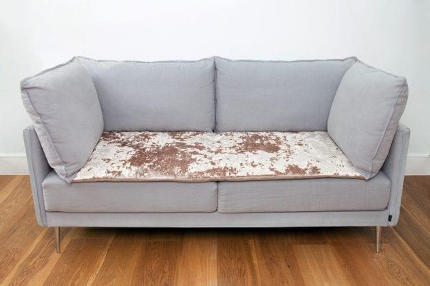 Crushed Velvet Sofa Topper in Opal