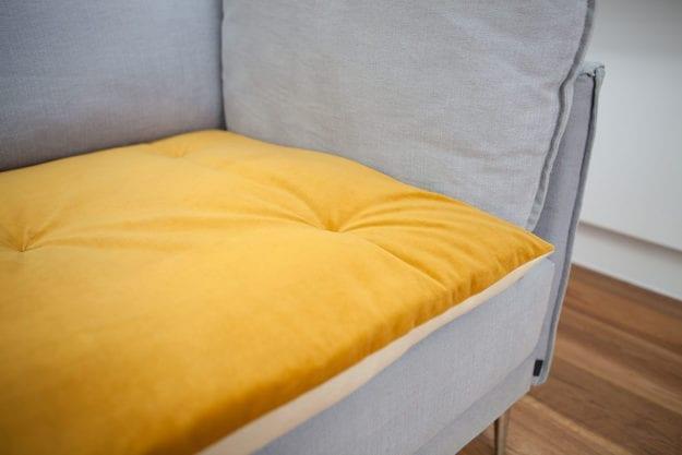 Plush Velvet Sofa Topper in Turmeric