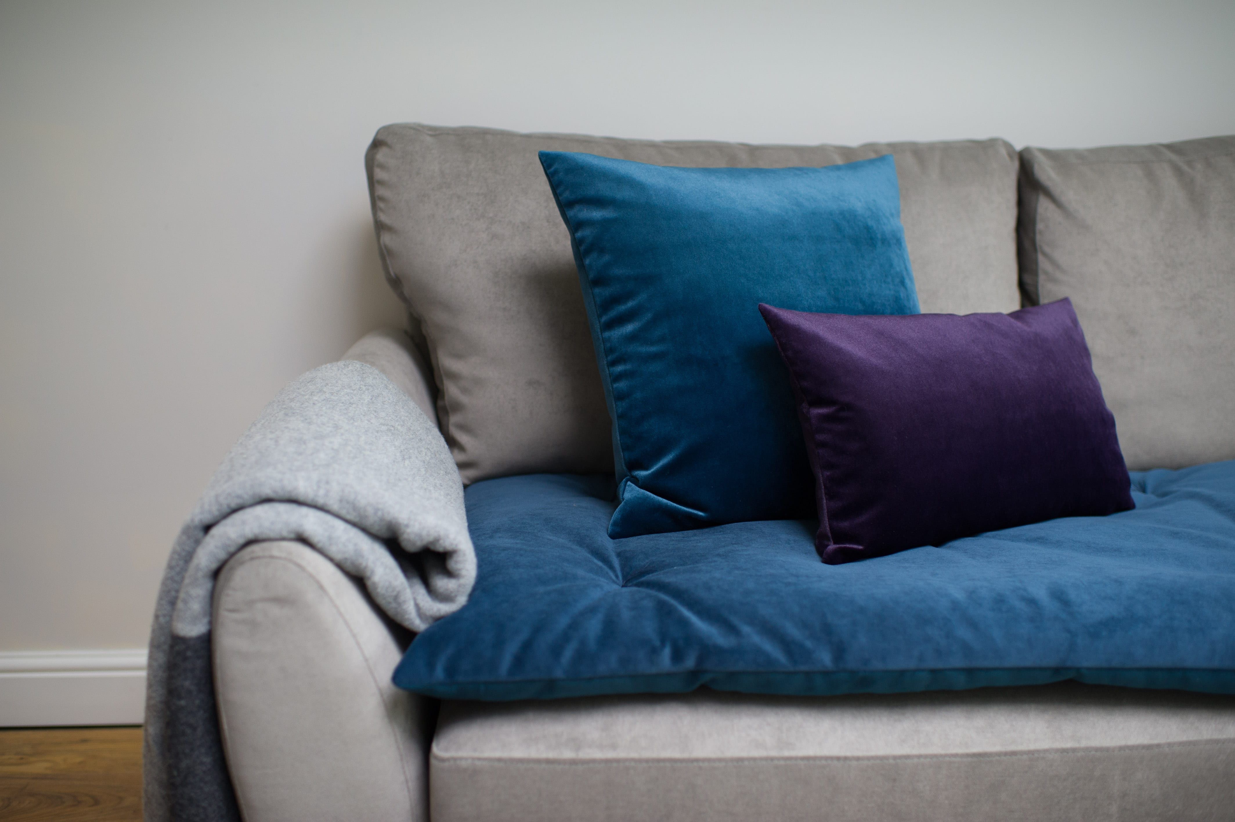 Plush Velvet Sofa Topper in Teal The Lounging Hound