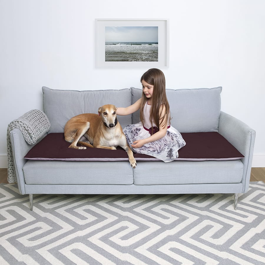 Luxury Wool Sofa Topper In Damson. ; 