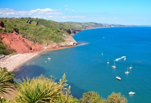 Babbacombe beach in Torquay, Devon coast, United Kingdom, view from above