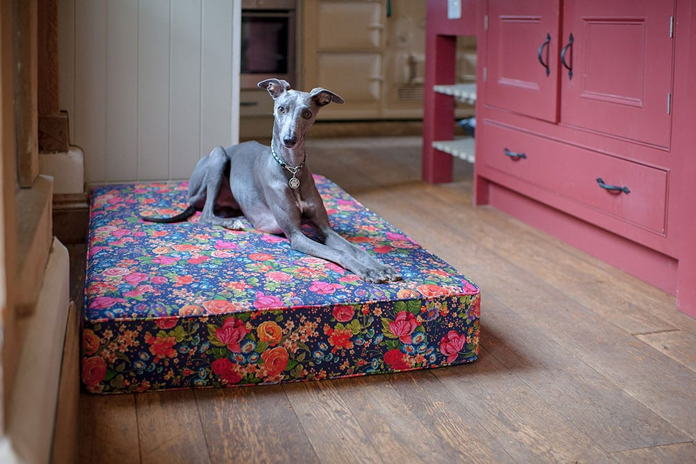 Floral mattress dog bed